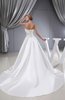 Gorgeous Hall A-line Strapless Lace up Satin Cathedral Train Bridal Gowns