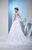 Modest Church Sheer Sleeveless Zipper Organza Chapel Train Bridal Gowns