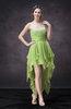 Romantic Halter Sleeveless Criss-cross Straps Hi-Lo Beading Homecoming Dresses