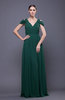 Elegant Sheath V-neck Chiffon Brush Train Prom Dresses