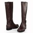 Knee High Boots Boots Buckle Pointed Toe Daily Flat Heel Cow Leather