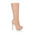 Stiletto Heel Wedding Shoes Wide Closed Toe Dress Women's Mid-Calf Boots