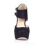 Stretch Velvet Wedding Shoes Buckle Stiletto Heel Extra Wide Dress Women's