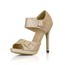 Sequined Cloth/Sparkling Glitter Platforms Office & Career Round Toe Average Buckle Stiletto Heel