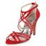 Women's Dance Shoes Graduation Sandals Silk Like Satin Rhinestone Kitten Heel
